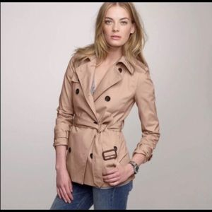 J. CREW COLLECTION SHORT TRENCH COAT IN BLUSH TAN